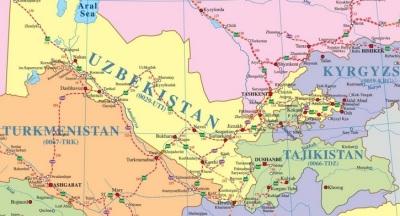 Türkmenistan Özbekistan Kırgizistan Tajikistan Demiryolu Haritası